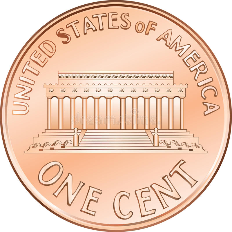 Vector American coin one cent, penny. American money, one cent coin with the image of the Lincoln Memorial stock illustration