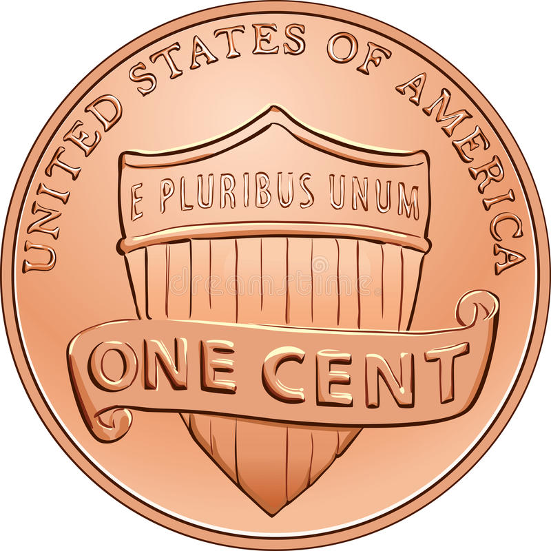 Vector American coin one cent, penny. American money, one cent coin with the image of a shield royalty free illustration