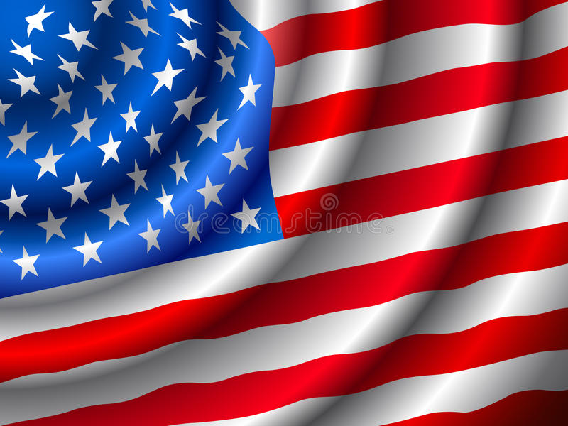VECTOR American Flag Waving In The Wind Stock Photo