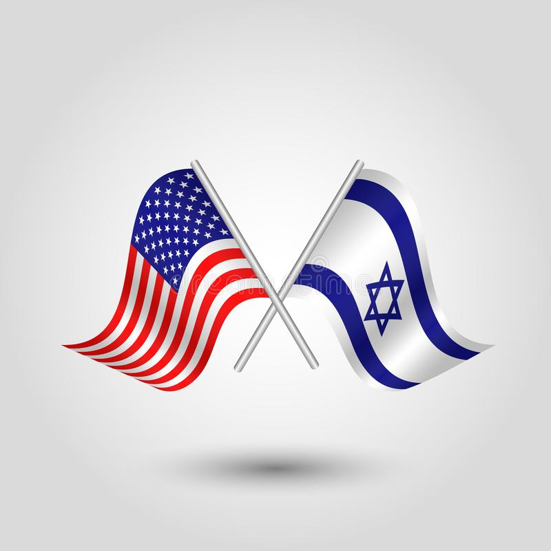 Vector american and israeli flags on silver sticks - symbol of united states of america and israel stock illustration