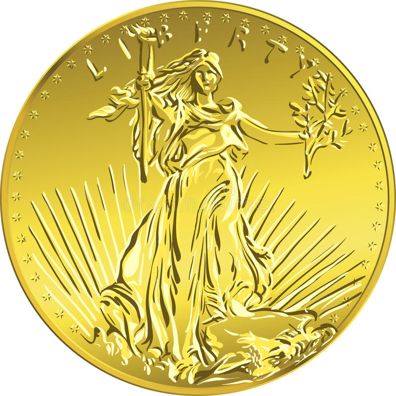Vector American money gold coin Liberty royalty free stock photography