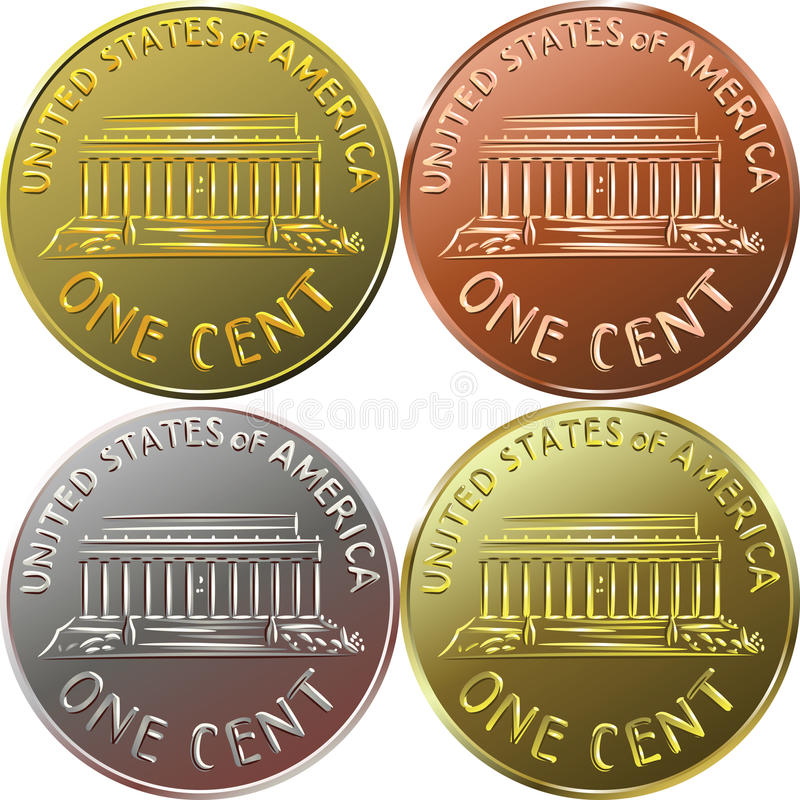 vector American money gold coin one cent, penny royalty free illustration