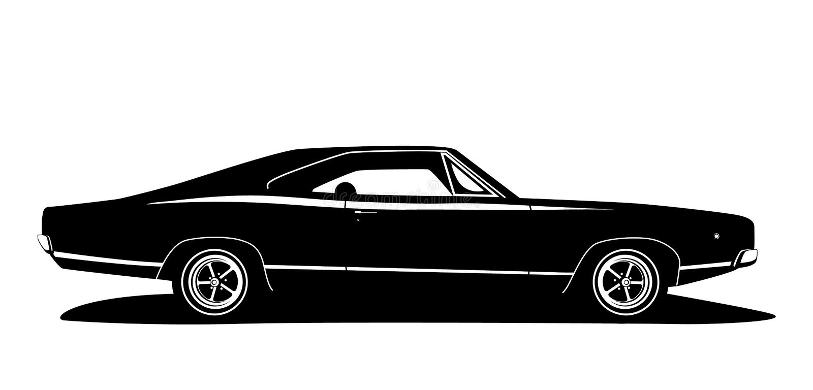 Vector american muscle car profile. Classic vehicle graphics design. Hot rod silhouette black and white. Cars label for web logo, print production stock illustration