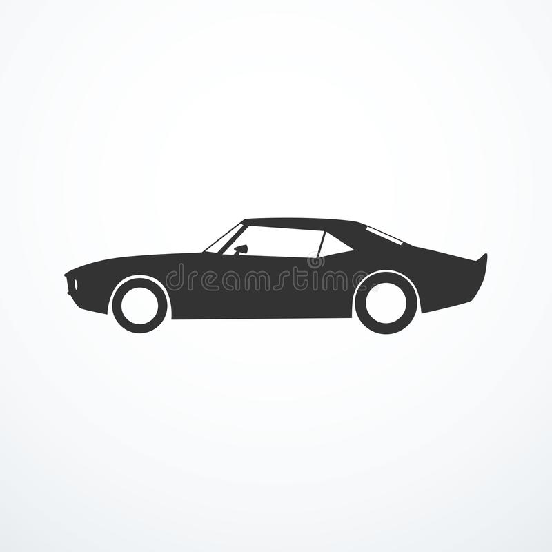 Vector american muscle car silhuette. Side view royalty free illustration