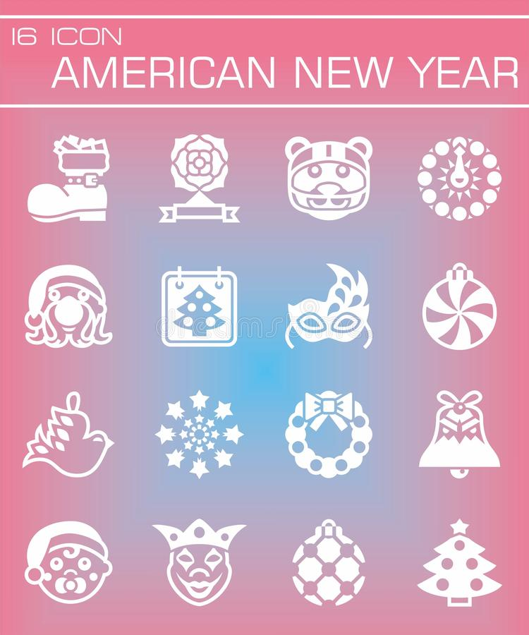 Vector American New Yers icon set vector illustration