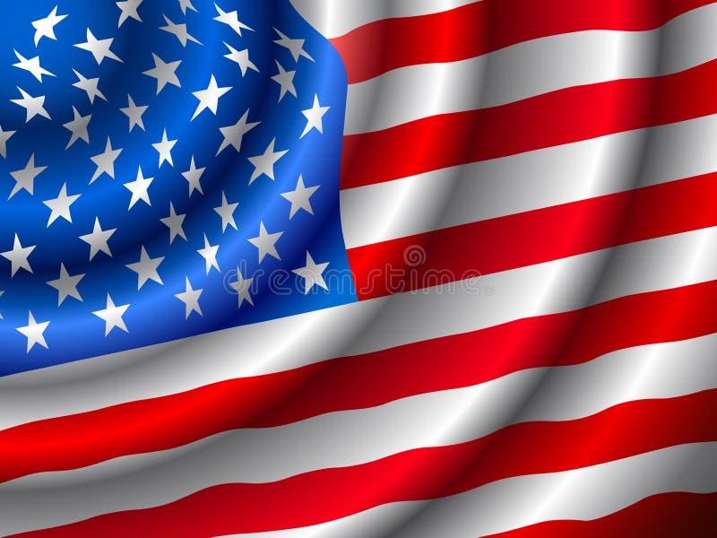 VECTOR Amerikaanse vlag die in de wind golft royalty-vrije illustratie