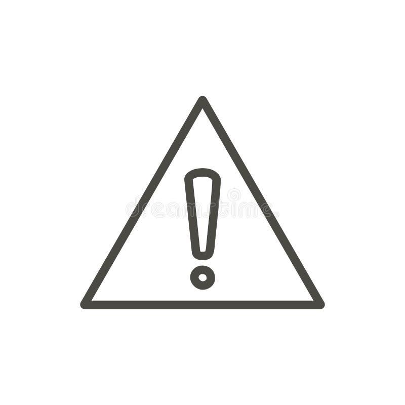 Vector amonestador del icono Línea símbolo del peligro aislado Ou plano de moda stock de ilustración