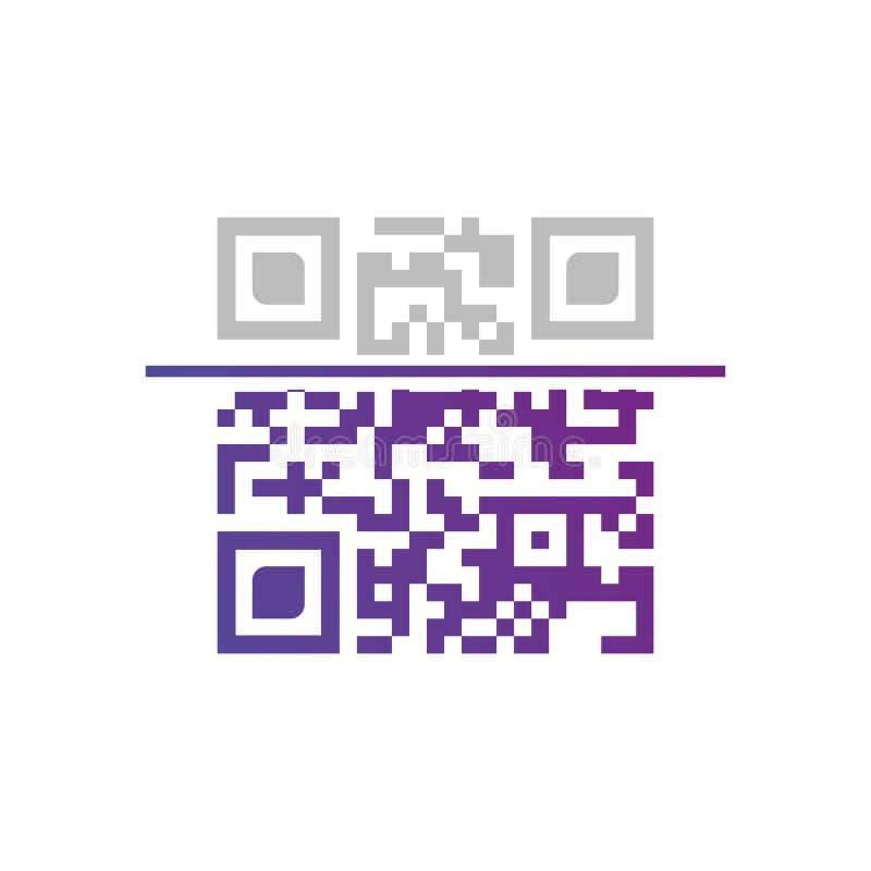 Vector a amostra do código de QR para a exploração do smartphone isolada no fundo branco ilustração royalty free