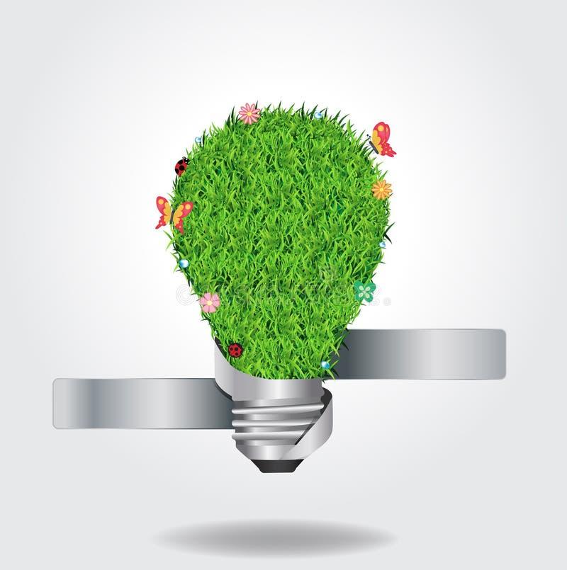 Vector a ampola criativa com ecolog da grama verde ilustração do vetor