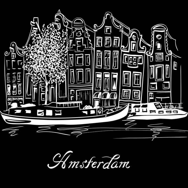 Vector Amsterdam canal and typical dutch houses. City view of Amsterdam canal, typical dutch houses and boats, Holland, Netherlands. White on black vector illustration