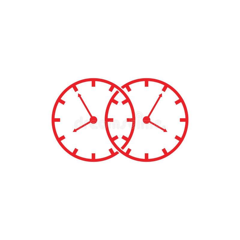 Vector análogo ligado del logotipo del símbolo del reloj ilustración del vector