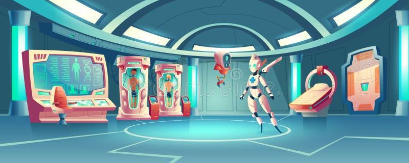 Vector anabiosis room, medic robot and astronauts. Vector cartoon background anabiosis room with hibernation cameras, medic robot to control sleep of astronauts stock illustration