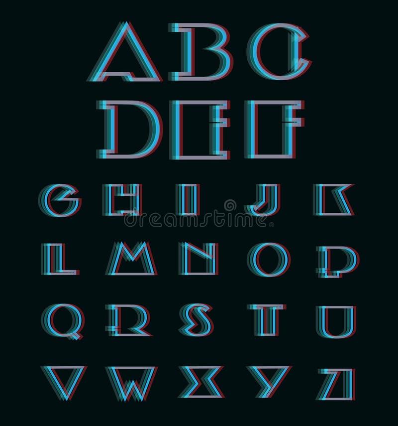 Vector Anaglyph 3D Alphabet Set. (3D Anaglyph Font stock illustration