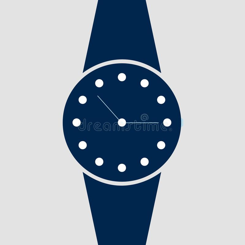 Vector analog clock on a wrist icon. Symbol of time management, chronometer with hour and minute arrow. Simple blue illustration i vector illustration