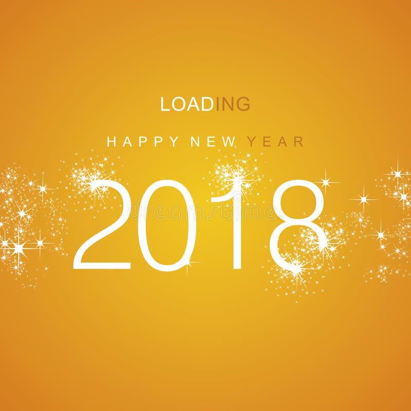 Vector anaranjado blanco 2018 del fuego artificial de la chispa del cargamento de la Feliz Año Nuevo stock de ilustración