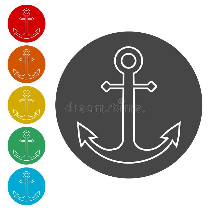 Vector anchor icon, Ship anchor or boat anchor flat icon stock illustration