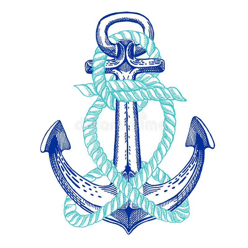 Free Vector Anchor. Sea, Ocean, Sailor Sign. Hand Drawn Vintage Illustration For T-shirt, Logo, Badge, Emblem. Stock Images - 116365024