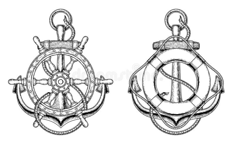 Vector anchors with a wooden ship steering wheel and life ring royalty free illustration