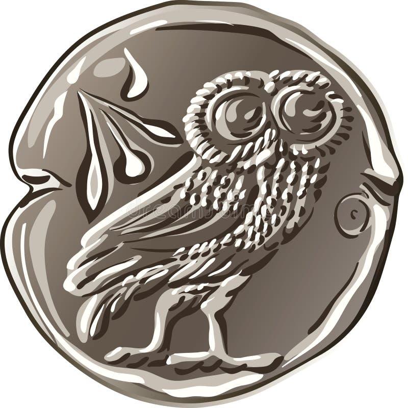 Vector ancient Greek money silver coin drachma stock illustration