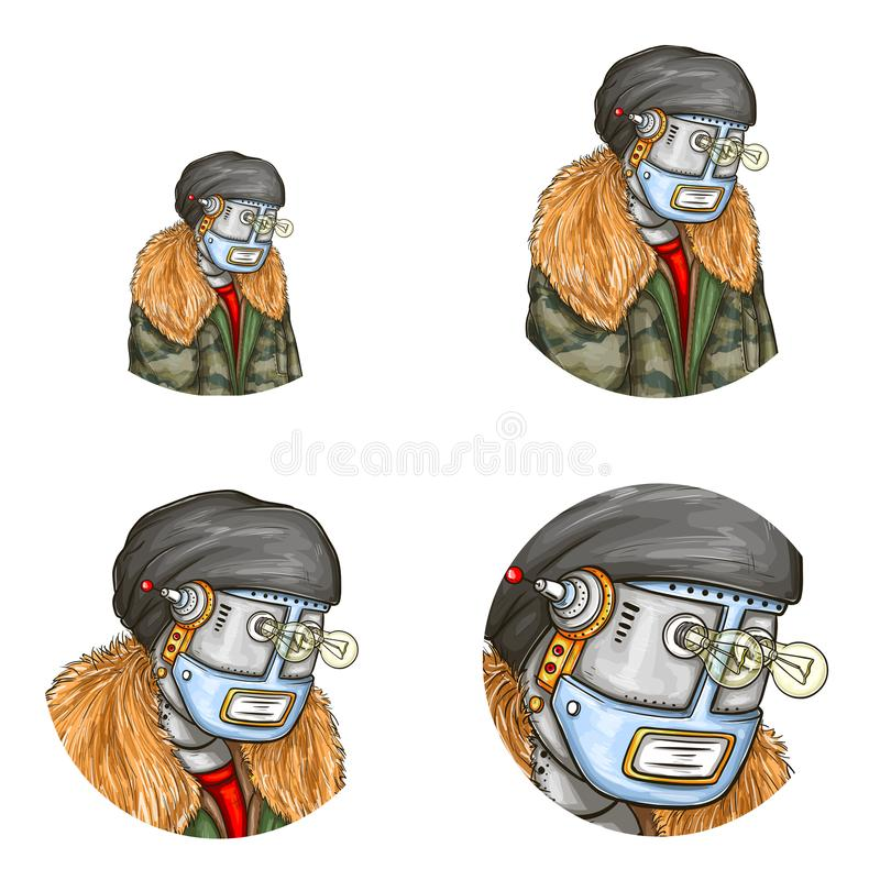 Vector androïde pop-artavatar van robot, stock illustratie