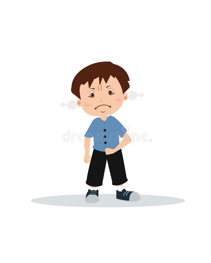 Vector of an angry boy expressing frustration and frowning vector illustration