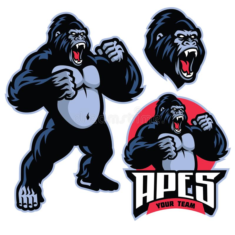 Angry gorilla mascot standing vector illustration