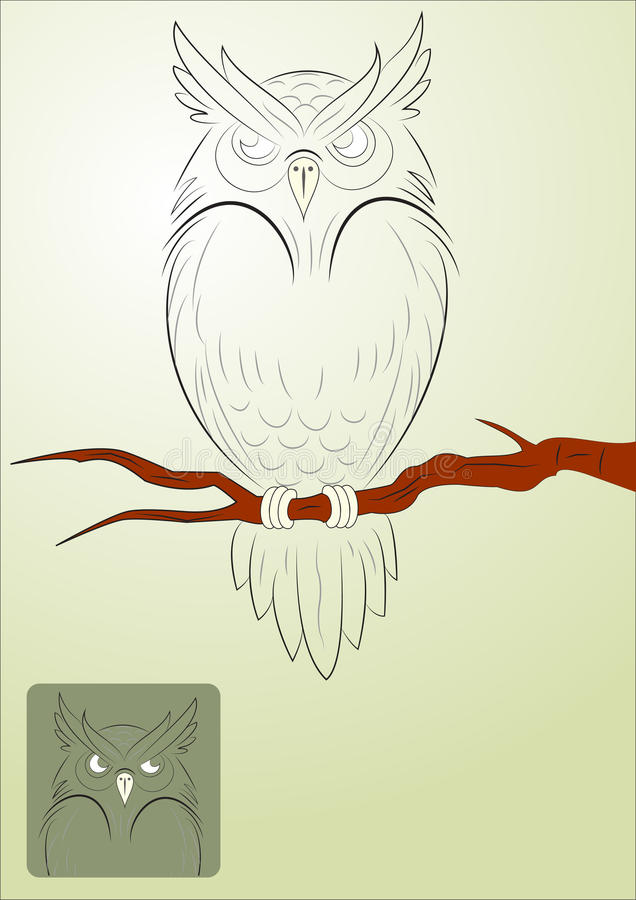 Vector Angry Owl. Illustration of angry owl bird. Template design for business cards, Vector EPS AI Illustrator Vector Graphic attached vector illustration