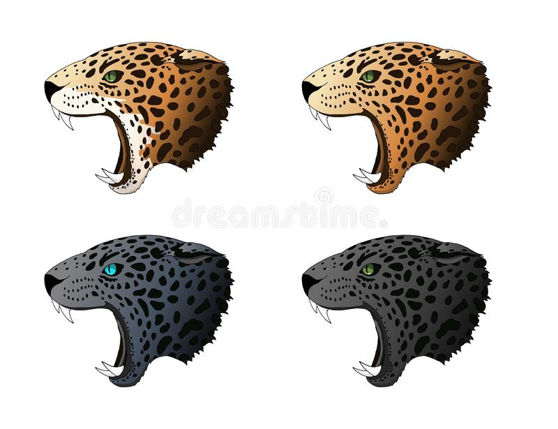 Vector angry panther, cougar portrait. Jaguar predator head colorful set. Vector angry panther, leopard, cougar portrait set. Jaguar blue saphire eyes predator royalty free illustration