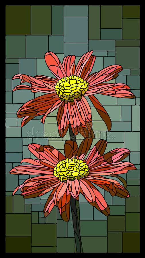 Vector stained glass window with blooming pyrethrum. Vector angular mosaic with blooming pyrethrum stained-glass window frame vector illustration
