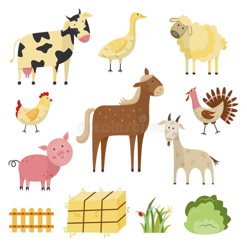 Vector animais de exploração agrícola, grupo de símbolos rural dos pássaros ilustração stock