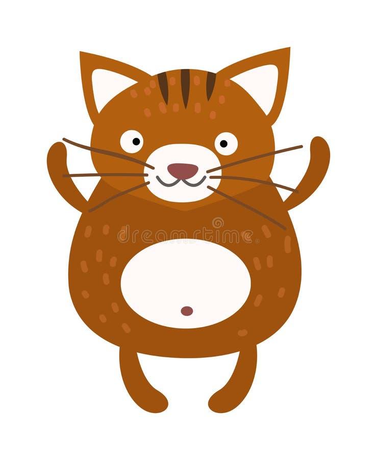 Vector animal casero solo que se sienta del gato peludo lindo libre illustration