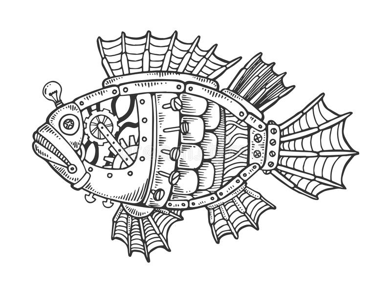 Vector animal del grabado de los pescados mecánicos stock de ilustración