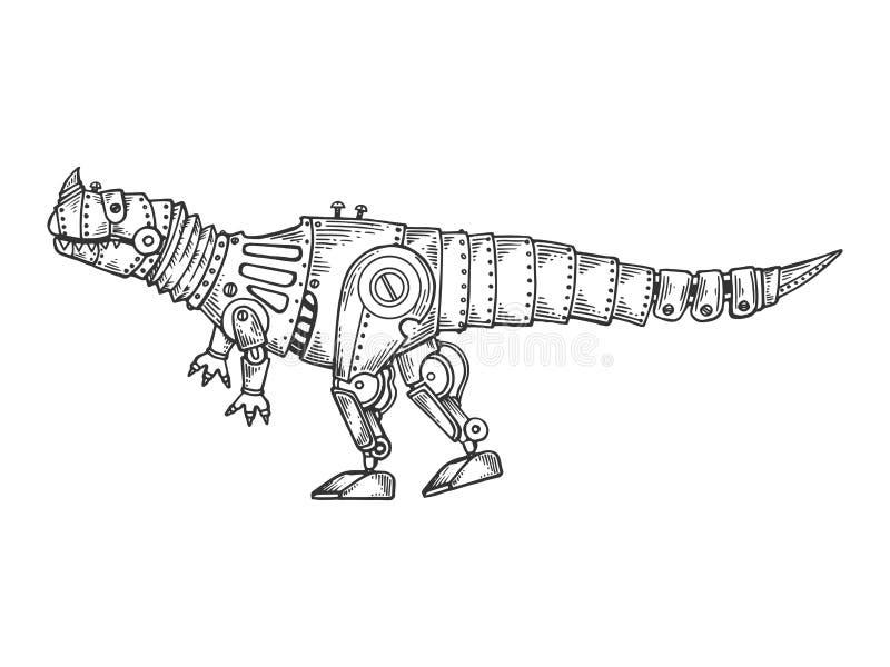 Vector animal del grabado del dinosaurio mecánico stock de ilustración
