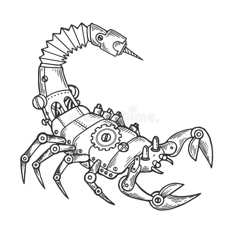 Vector animal del grabado del escorpión mecánico ilustración del vector