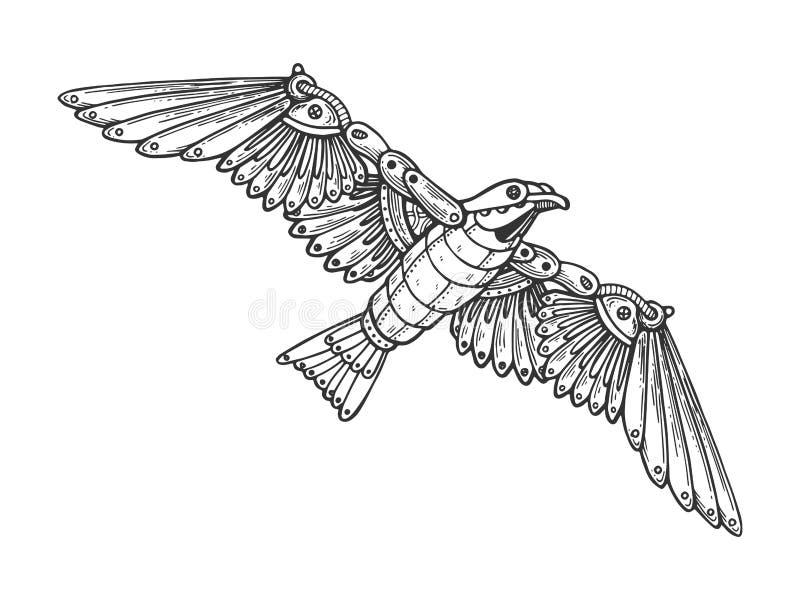 Vector animal del grabado del pájaro mecánico de la gaviota ilustración del vector