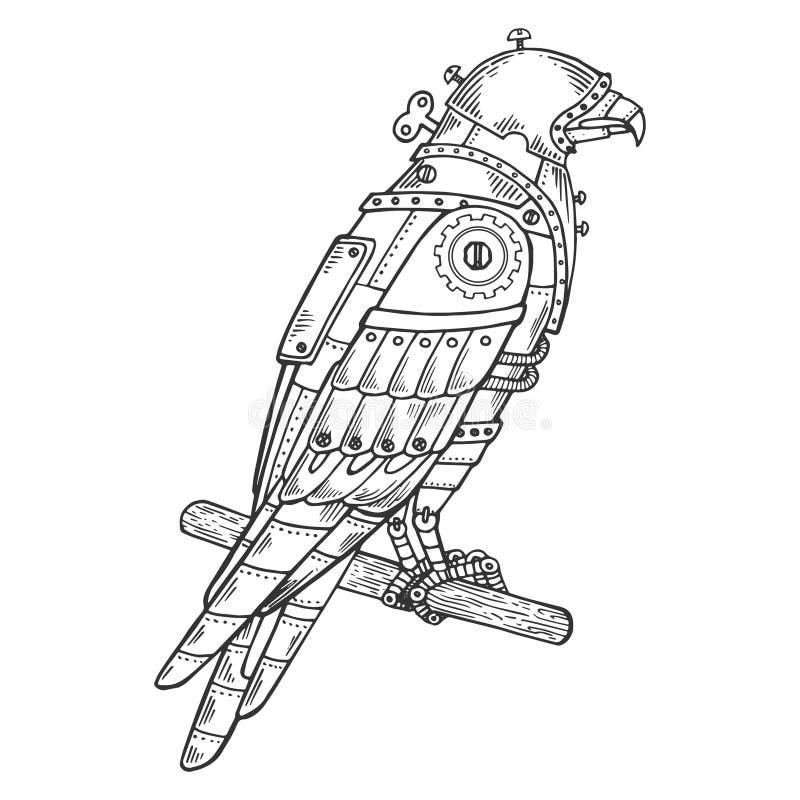 Vector animal del grabado del pájaro mecánico del halcón stock de ilustración