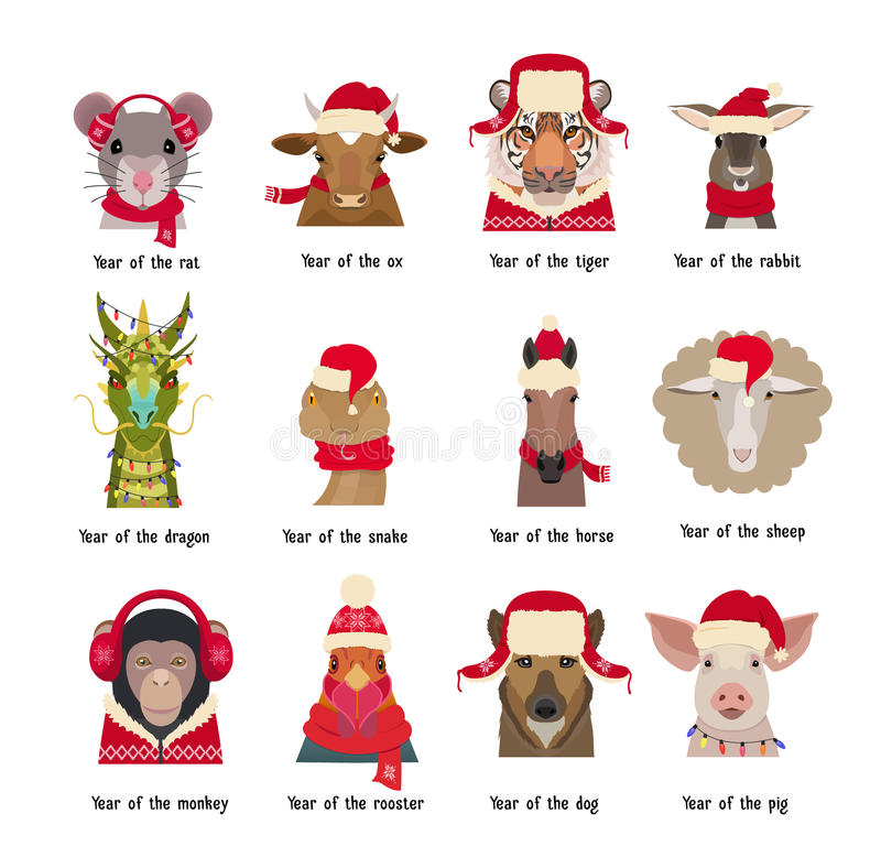 Vector animal Heads in red caps scarfs. Chinese horoscope symbols royalty free illustration
