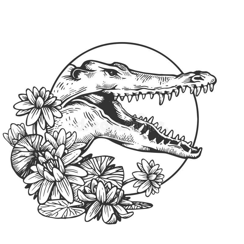 Vector animal principal del grabado del cocodrilo libre illustration
