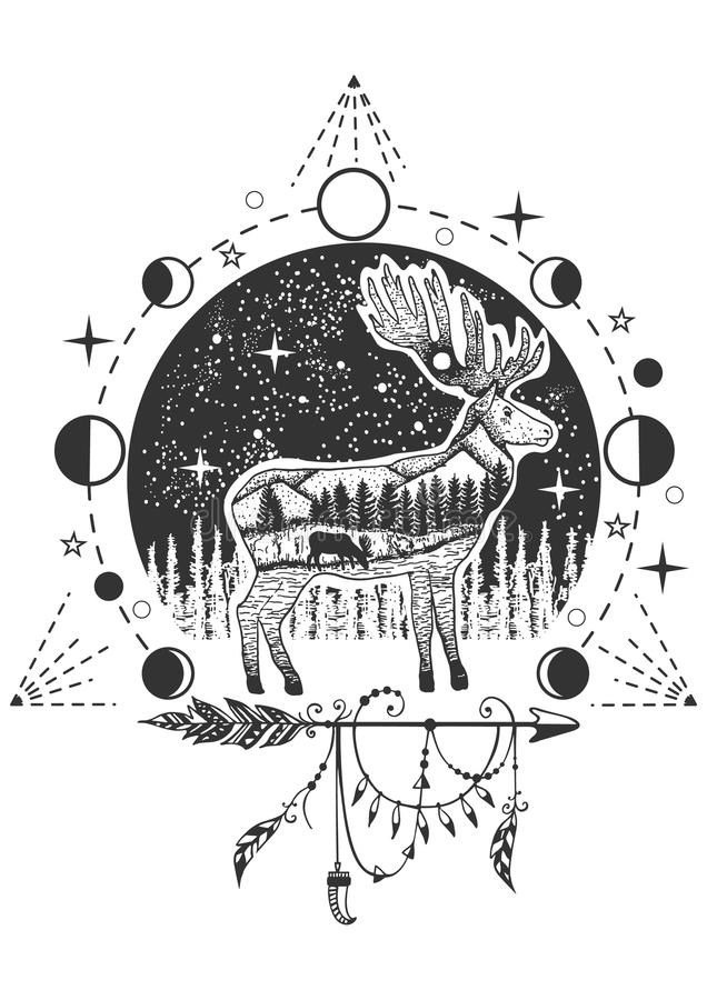 Vector elk tattoo or t-shirt print design royalty free illustration