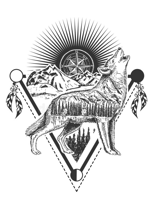 Vector howling wolf tattoo or t-shirt print design. Vector animal tattoo or t-shirt print design. Howling wolf combined with nature, compass rose and geometric vector illustration