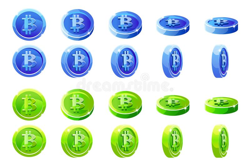 Vector animation rotation Blue and green 3D Bitcoin coins. Digital or Virtual currencies and electronic cash. stock illustration