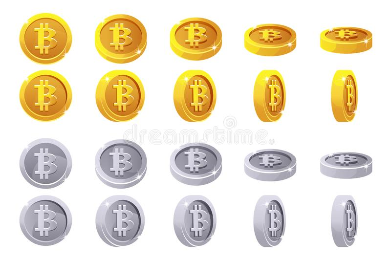 Vector animation rotation Gold and silver 3D Bitcoin coins. Digital or Virtual currencies and electronic cash. stock illustration