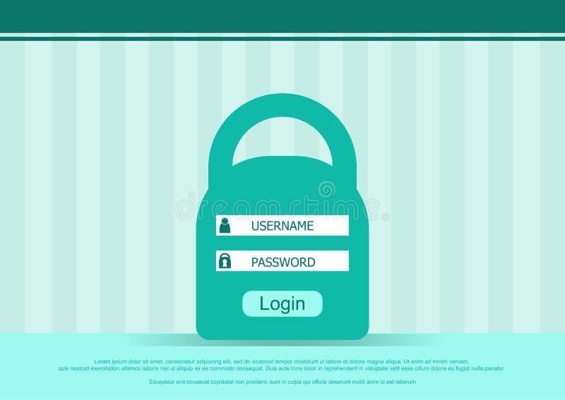 Vector Anmeldungskastenform, Schnittstellenseite - Benutzername und Passwort Flacher Hintergrund stock abbildung