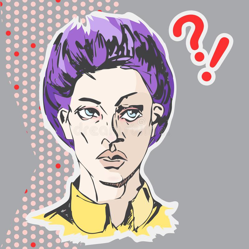 Vector annoyed woman face with purple short hair and yellow shirt stock illustration