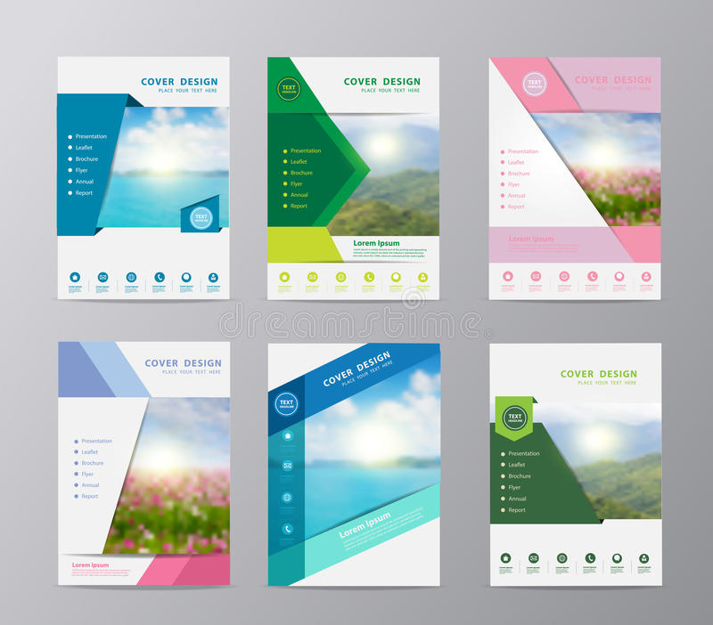Vector annual report brochure flyer design nature landscape background. Annual report brochure flyer design template vector, Set of leaflet cover presentation royalty free illustration