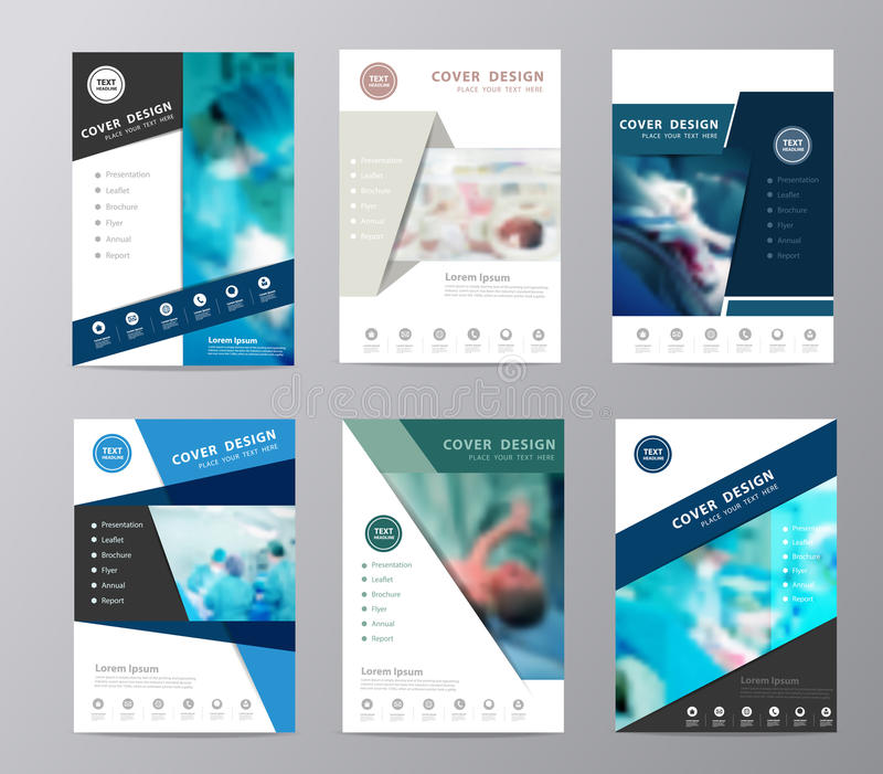 Vector annual report brochure flyer operating room background. Blue annual report brochure flyer design template vector, Leaflet cover presentation abstract flat royalty free illustration