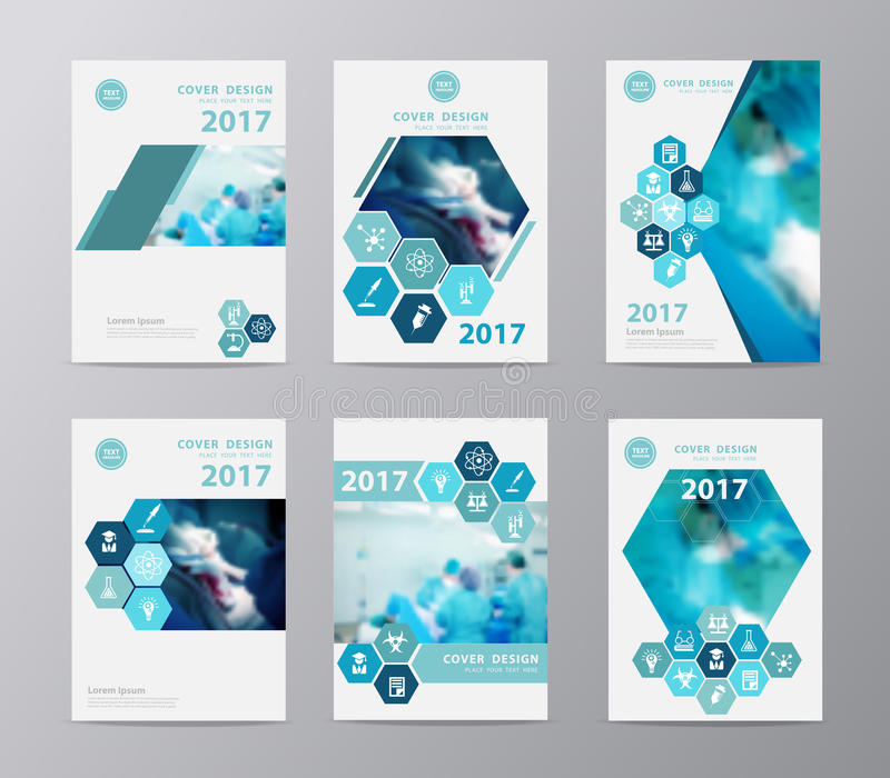 Vector annual report brochure with team surgeon at work in operating room. Blue annual report brochure flyer design layout template vector illustration, Leaflet stock illustration