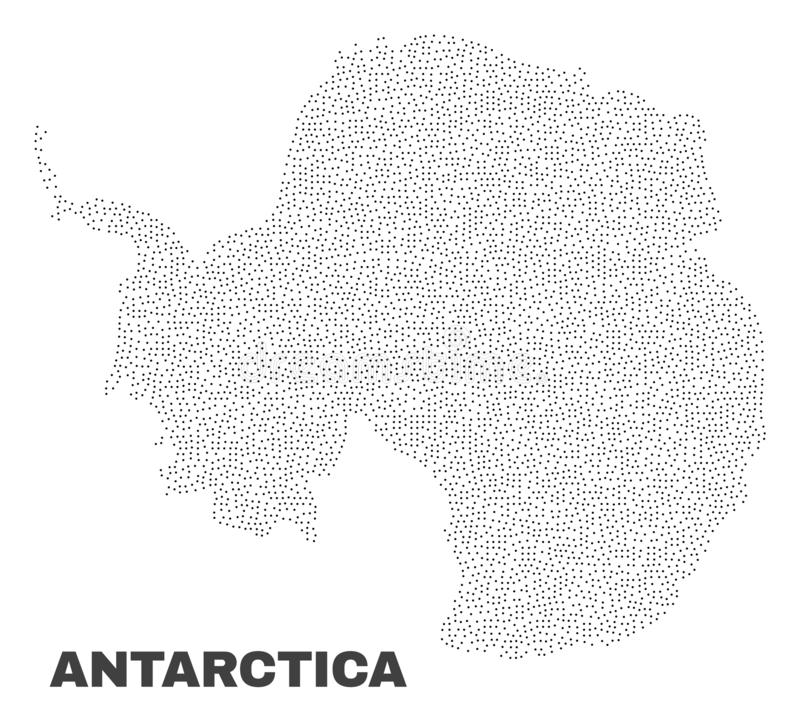Vector Antarctica Continent Map of Points. Antarctica continent map designed with little points. Vector abstraction in black color is isolated on a white stock illustration