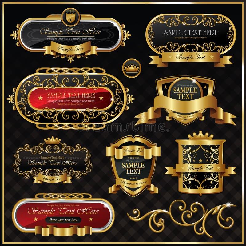 Vector antiek gouden frame royalty-vrije illustratie