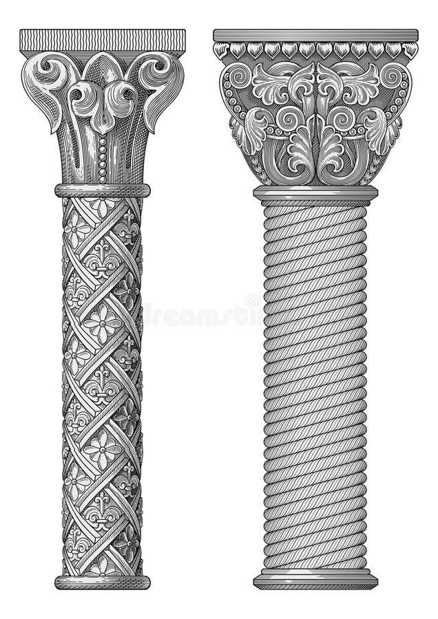 Vector antiguo de la columna ilustración del vector
